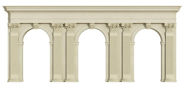 白で隔離されるアーチとコリント式の列を持つ古典的な列柱。 3dレンダリング