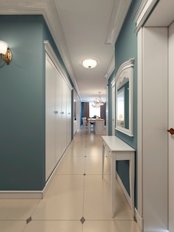 Classic corridor with kitchen on background of blue and white color with large wardrobe and console.