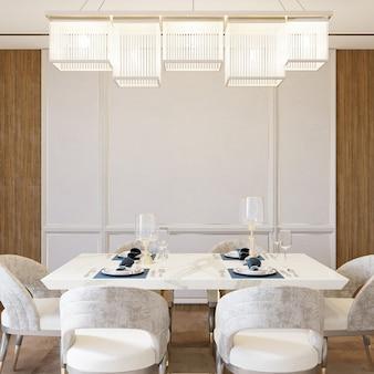 Классическая столовая со столом и стульями