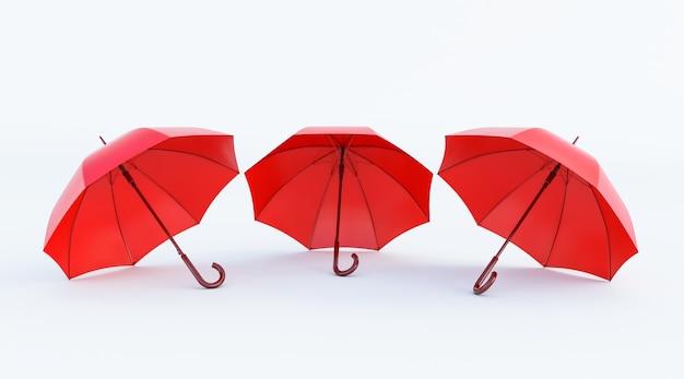 Классический элегантный открытый красный зонт на белом фоне, 3 красных зонтика. 3d визуализация