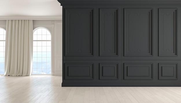 검은색 벽 나무 바닥 창과 커튼이 있는 고전적인 빈 인테리어