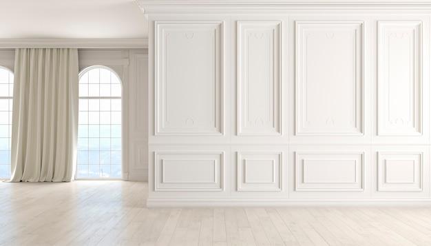 흰색 벽 나무 바닥 창과 커튼 d 렌더링 그림이 있는 고전적인 빈 인테리어