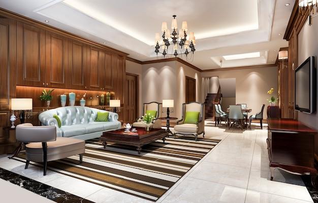 Classic european dining room and living room Premium Photo