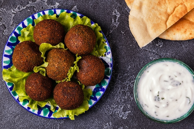 Classic falafel on the plate