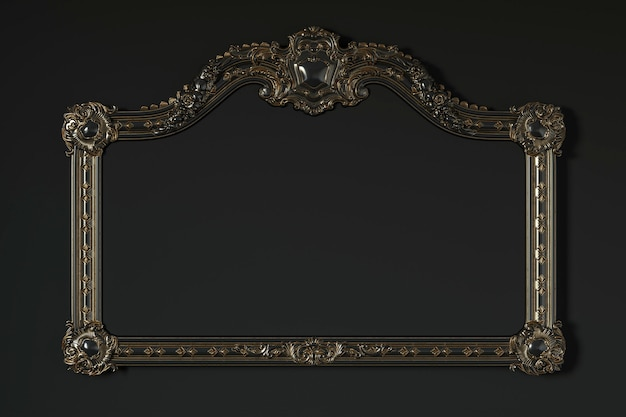 Classic frame on a black background. 3d rendering.