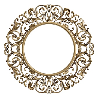 Classic frame circle with ornament decor isolated
