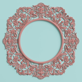 Classic frame with ornament decor in pastel pink color  on pastel blue wall
