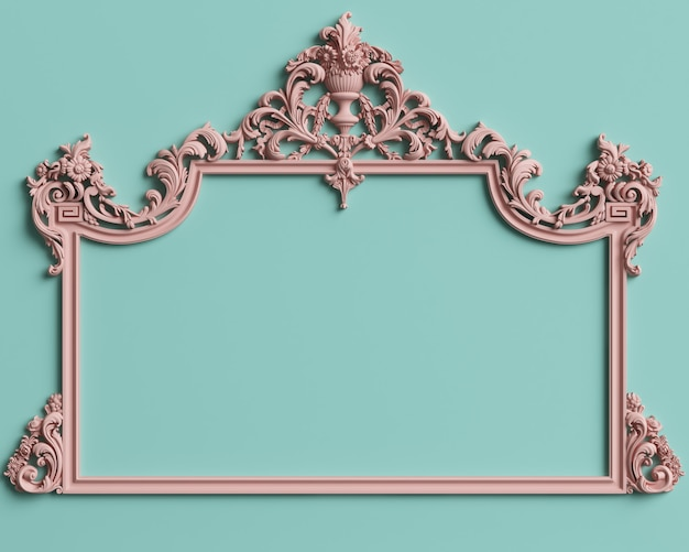 Classic frame with ornament decor in pastel pink color on pastel mint blue wall