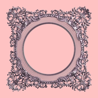 Classic frame with ornament decor in pastel purple color  on pink wall