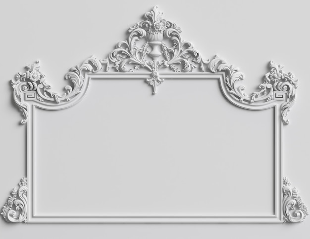 Classic frame with ornament decor on white wall