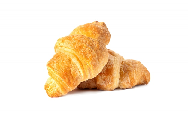 Classic french croissant sweet pastries, breakfast for breakfast.