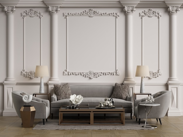 Classic furniture in classic interior with copy space.walls with ornated mouldings.floor parquet.digital illustration.3d rendering