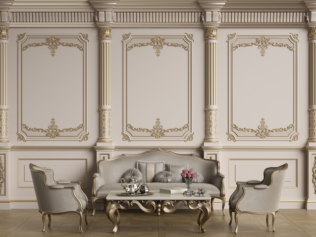 Classic furniture in classic interior with copy space