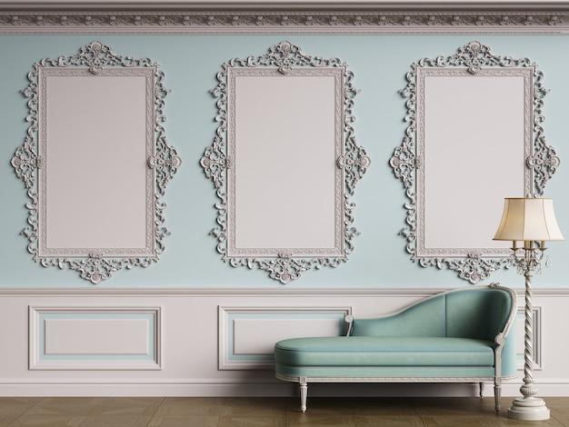 복사 공간이있는 클래식 인테리어의 클래식 가구 ornated mouldings.floor parquet.digital illustration.3d 렌더링 벽