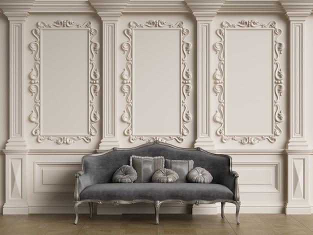 Классическая мебель в классическом интерьере с копией пространства. стены с орнаментированной лепкой. напольный паркет. цифровая иллюстрация. 3d визуализация.