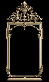 Classic golden frame with ornament decor  on black wall