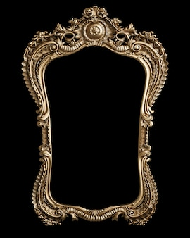 Classic golden frame with ornament decor isolated on black background. digital illustration. 3d rendering