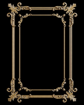 Classic golden frame with ornament decor isolated on black background