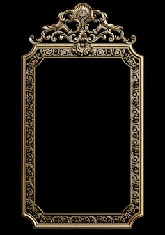 Classic golden frame with ornament decor isolated on black wall