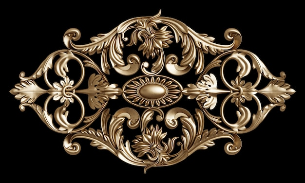 Classic golden frame with ornament decor isolated on black