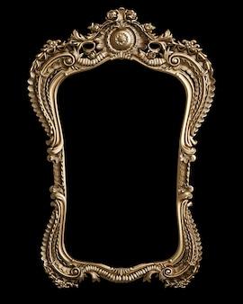 Классическая золотая рамка с декором орнамента на черном фоне. цифровая иллюстрация. 3d рендеринг