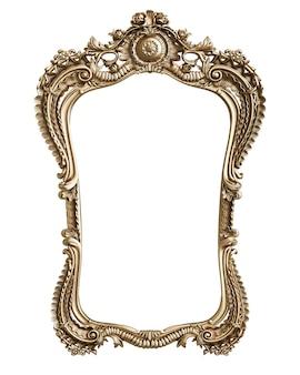 Классическая золотая рамка с декором орнамента, изолированные на белом фоне. цифровая иллюстрация. 3d рендеринг