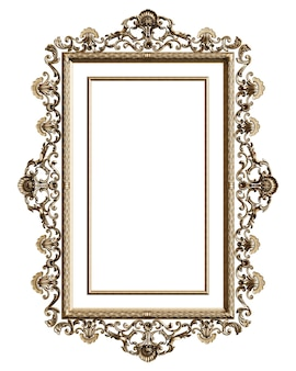 Classic golden frame with ornament decor isolated on white background. digital illustration. 3d rendering