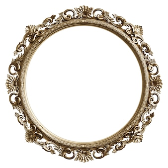 Classic golden frame with ornament decor isolated on white background