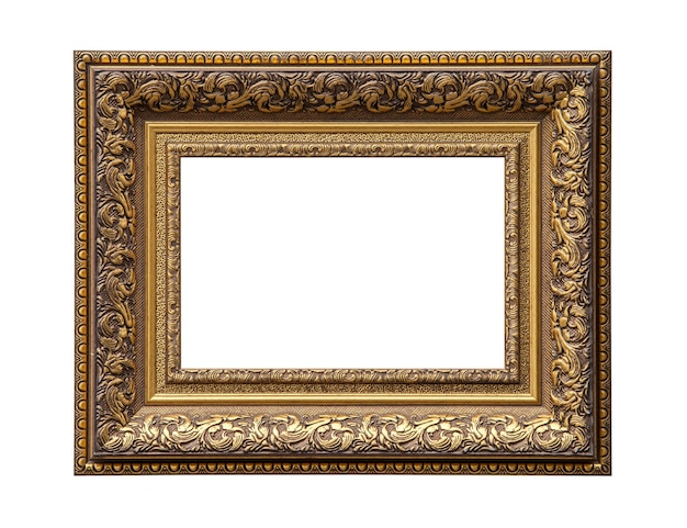 Classic golden painting canvas frame isolated on white