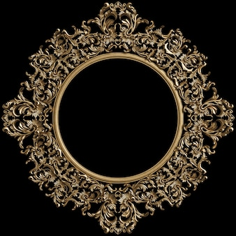 Classic golden round frame with ornament decor  on black wall