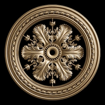 Classic golden round frame with ornament decor isolated on black