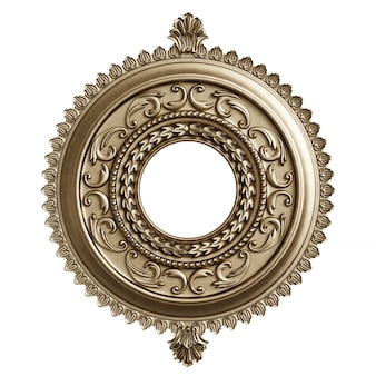 分離された装飾装飾が施された古典的なゴールデンラウンドフレーム