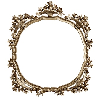 Classic golden round frame with ornament decor isolated
