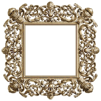 Classic golden square frame with ornament decor isolated on white background