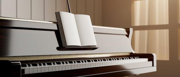 외부 3d 그림에서 창 조명 가까이에 서 있는 음악 책이 있는 클래식 그랜드 피아노