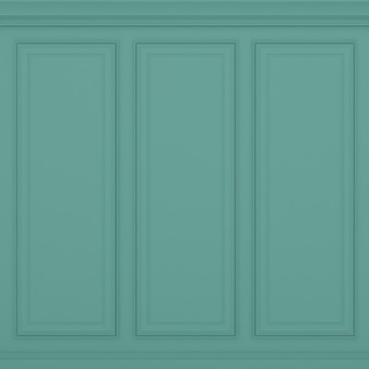 Classic green wall 3d render