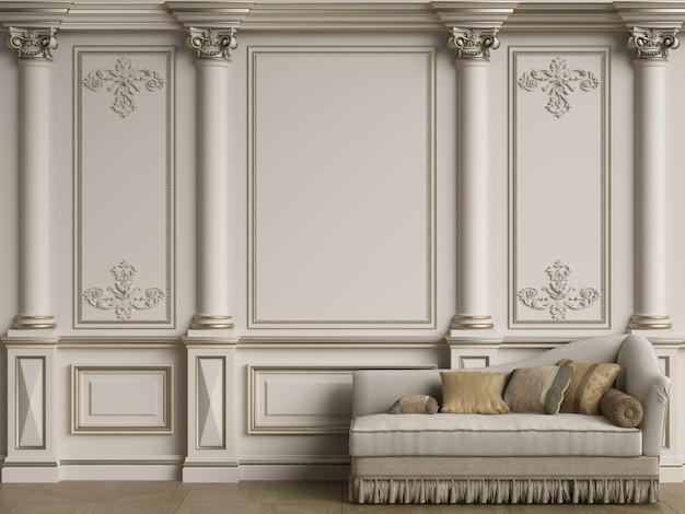 Classic grey sofa in classic interior room