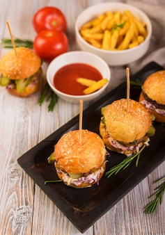 Classic hamburgers with tasty french fries