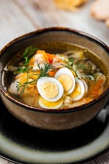 Classic homemade and quail eggs noodles