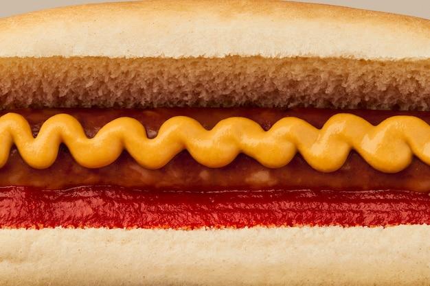 Классический хот-дог с колбасным кетчупом и горчичным макро-меню для ресторана