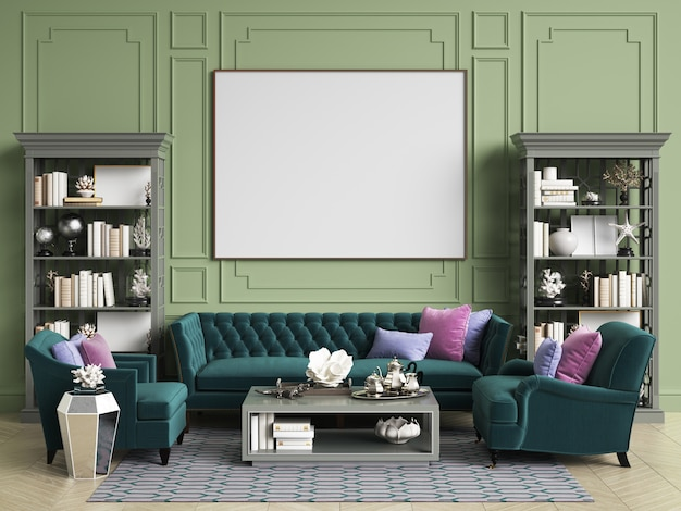 Classic interior in green colors with copy space