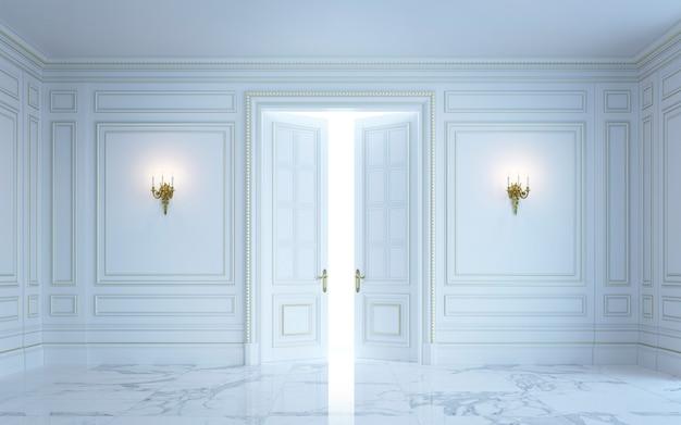 A classic interior is in light tones. 3d rendering.