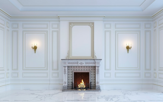 A classic interior is in light tones with fireplace. 3d rendering.