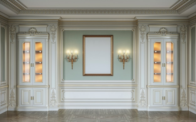 Classic interior in olive colors with wooden wall panels, showcases, sconces and frame. 3d rendering.
