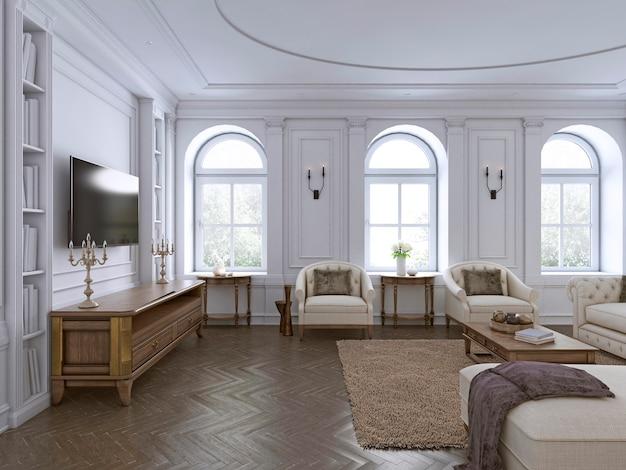 Классический интерьер. диван, стулья, тумбочки с лампами, стол с декором. белые стены с лепниной. напольный паркет в елочку, коврик с рисунком. 3d рендеринг