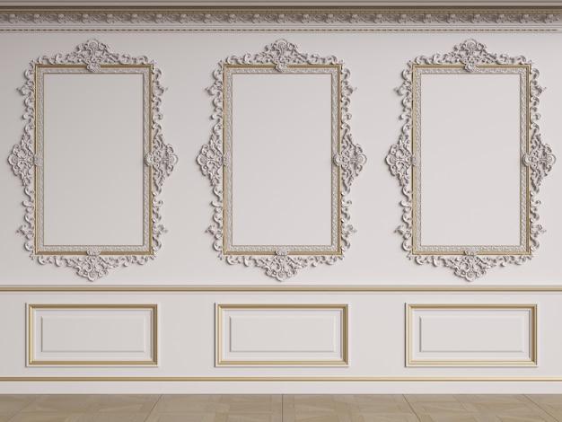 Classic interior wall with mouldings.floor parquet herringbone.digital illustration.3d rendering