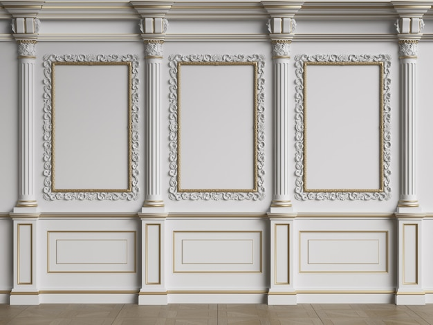 Classic interior wall with mouldings.floor parquet herringbone.digital illustration.3d rendering