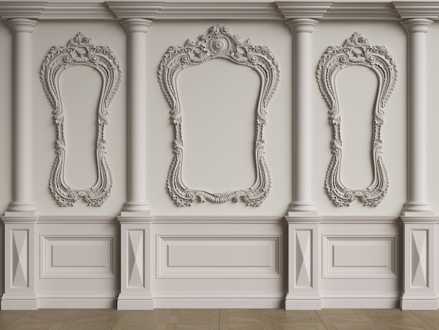 몰딩과 클래식 인테리어 벽 바닥 마루 헤링본 디지털 illustration.3d 렌더링