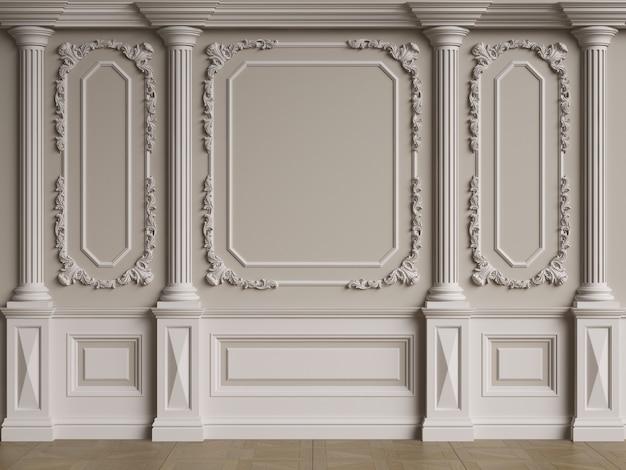 Классическая внутренняя стена с лепниной. пол паркет елочкой. цифровая иллюстрация. 3d визуализация
