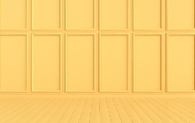 복사 공간이 있는 고전적인 내부 벽 화려한 몰딩 패널이 있는 벽